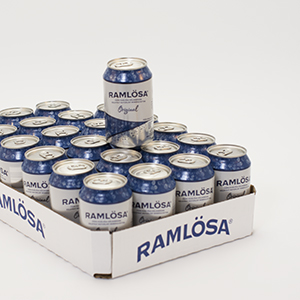 Ramlösa 33 cl can. Sparkling mineral water delivered chilled in packs of 24 cans.