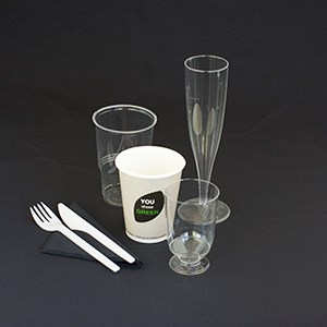 See-through bioware plastic cup. 25 cl. 70 pieces.