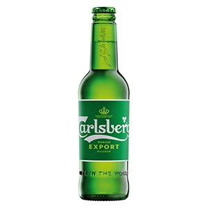 Carlsbergs Export 33 cl glass bottle. Delivered chilled in packs of 24 bottles.